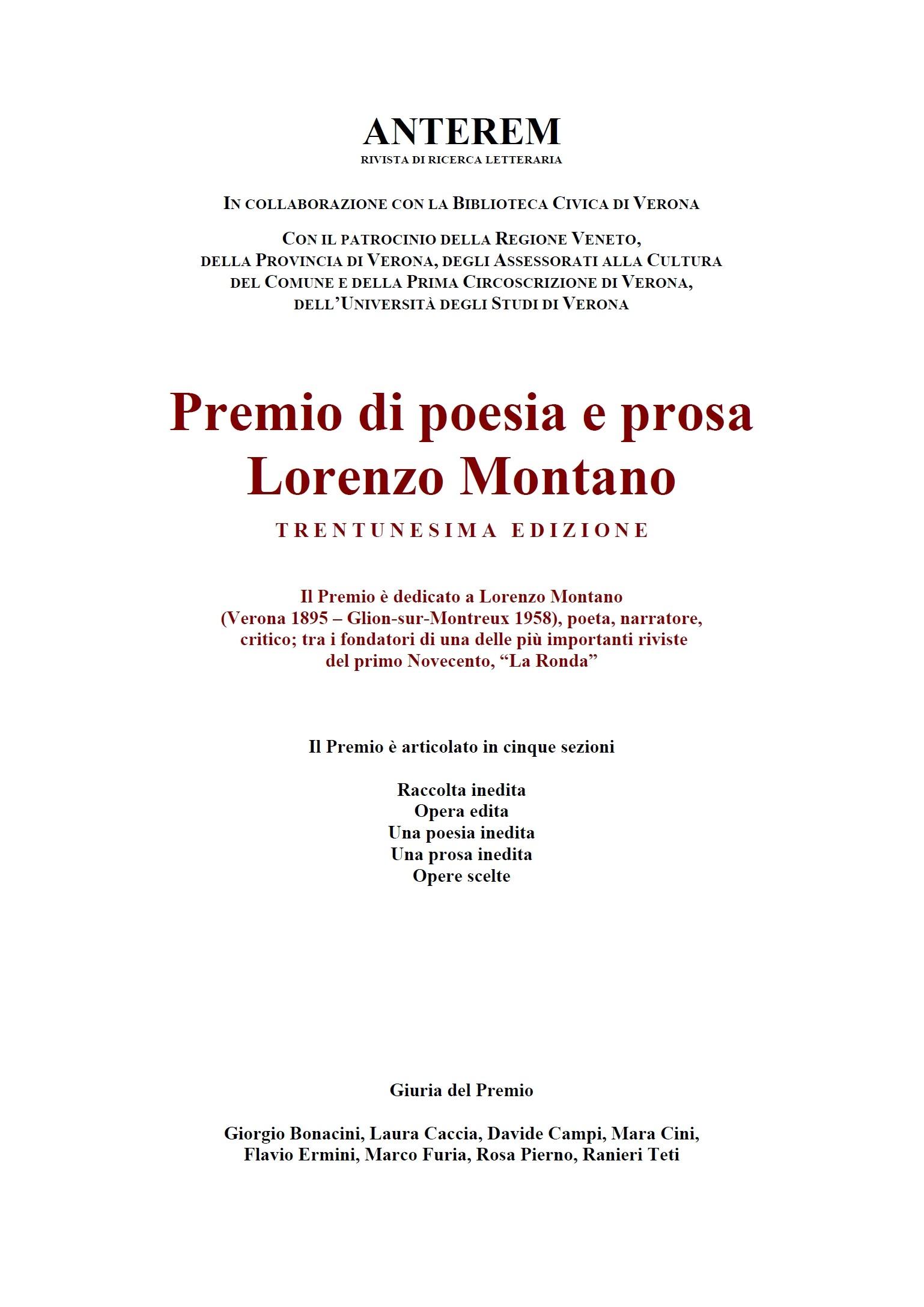 Premio Lorenzo Montano 2017