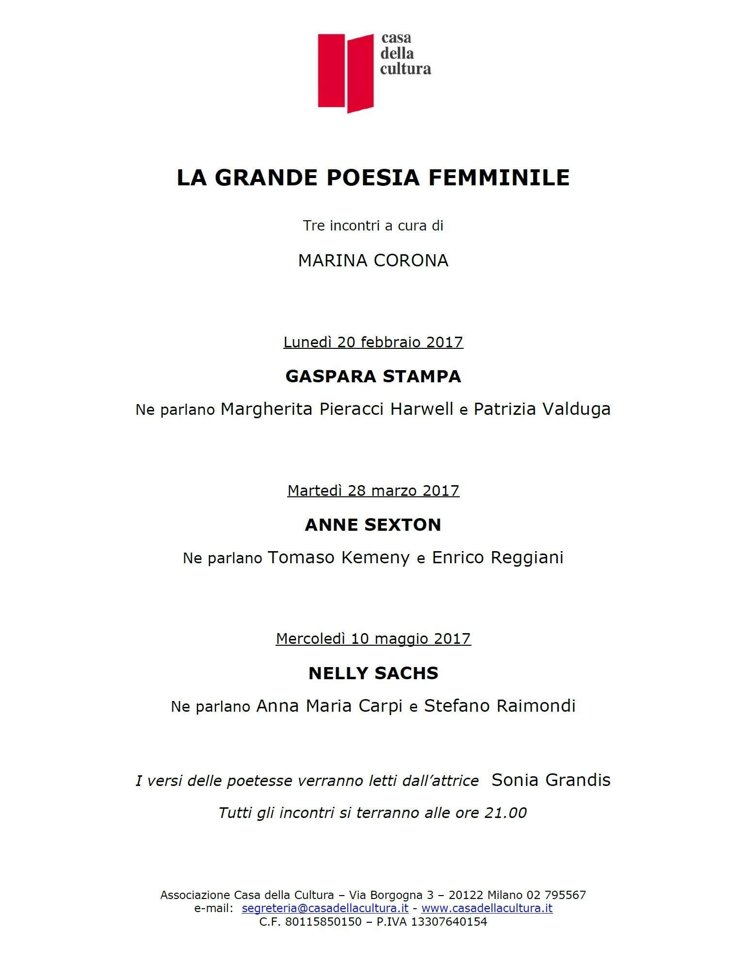 La grande poesia femminile a Milano