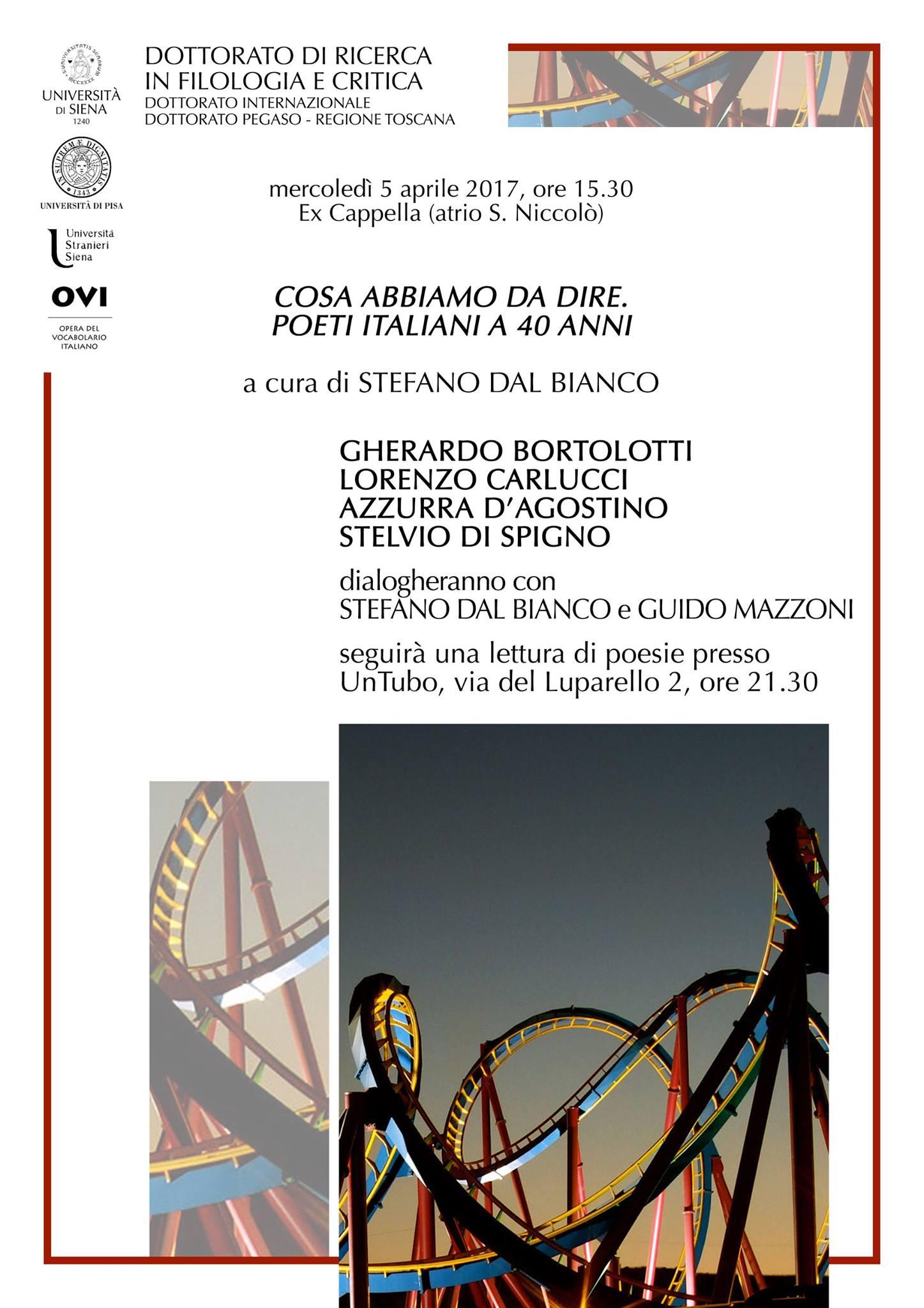 Cosa abbiamo da dire: poeti a quarant'anni – 5 aprile, Siena