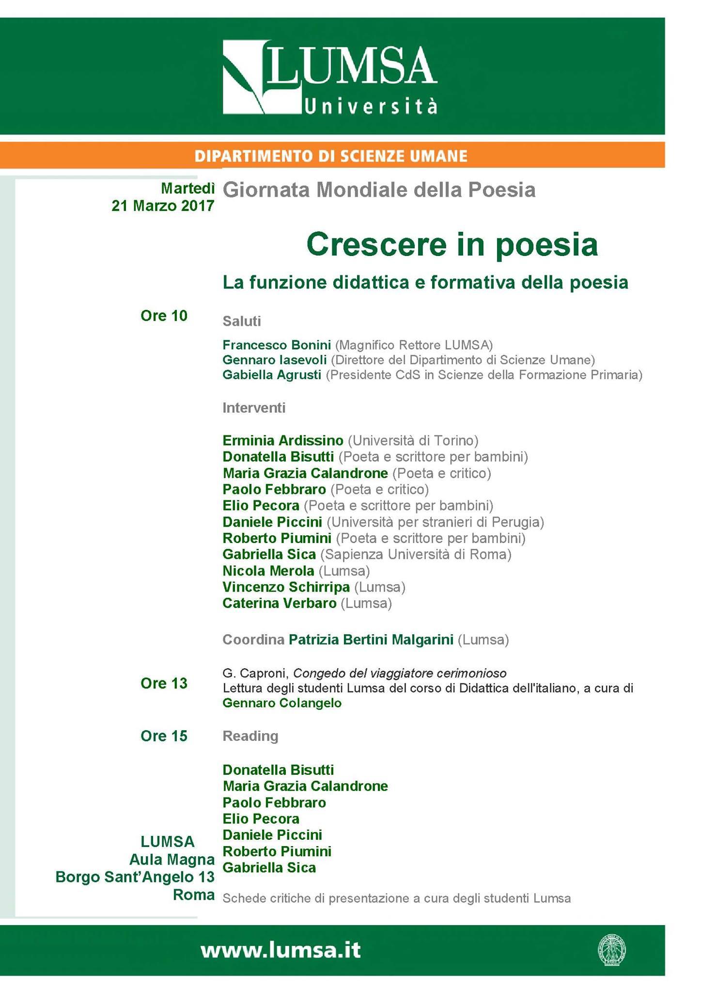 Crescere in poesia: la funzione didattica e formativa della poesia – Roma 21 marzo