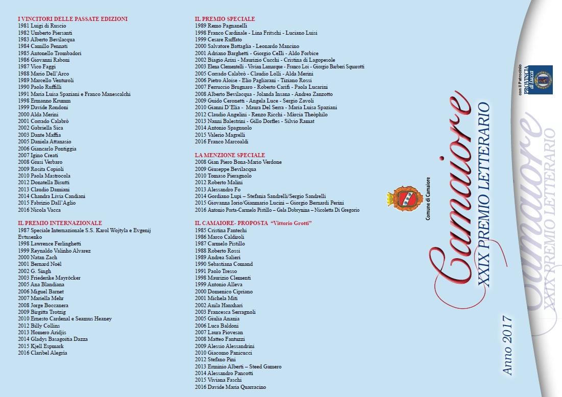 Premio Camaiore 2017