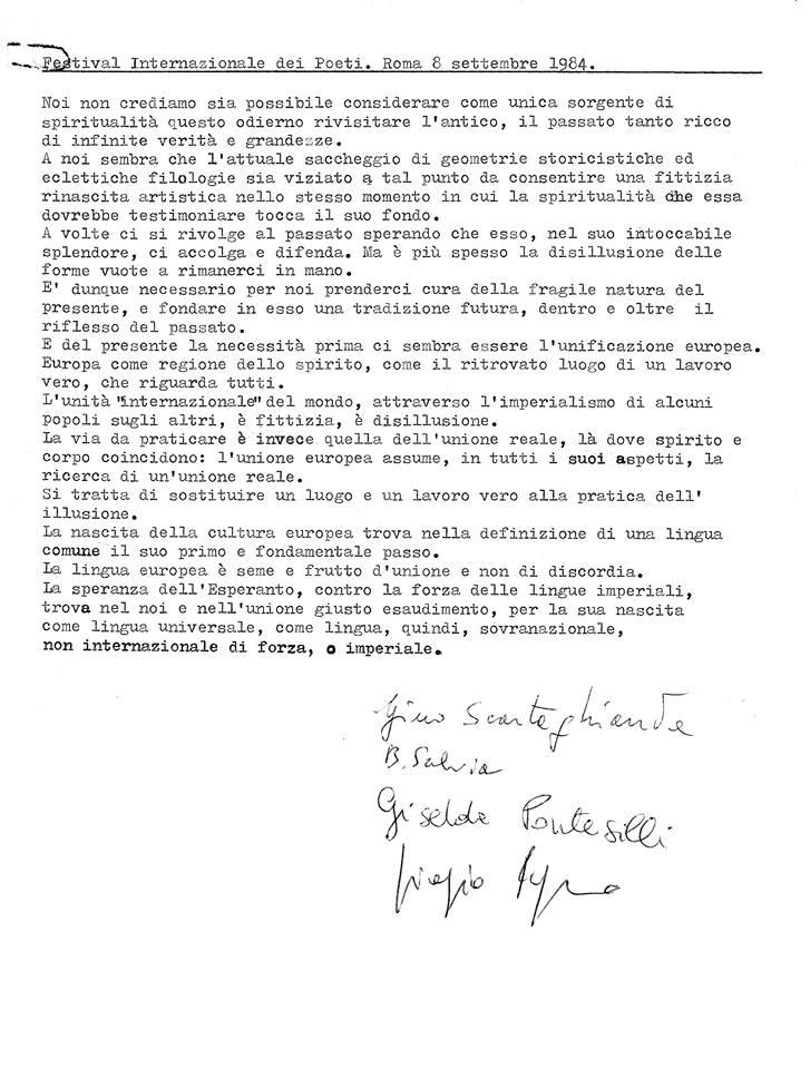Festival Internazionale dei Poeti. Roma 8 settembre 1984