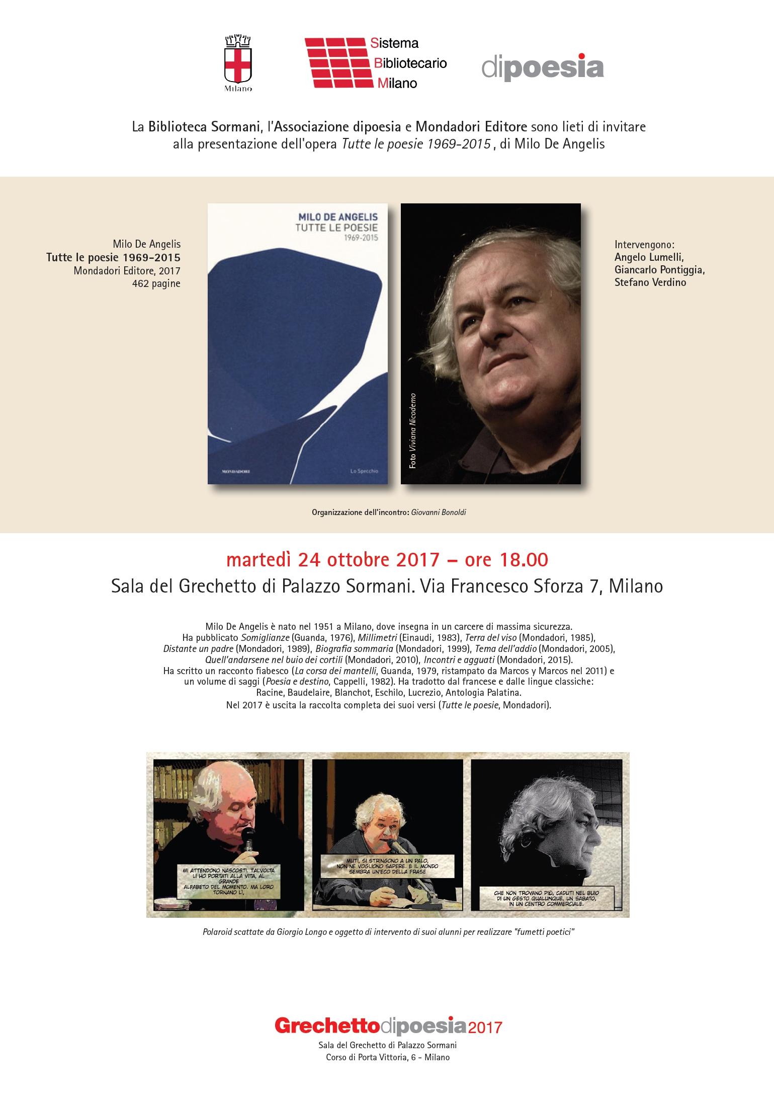 Milo De Angelis, tutte le poesie – Milano 24 ottobre