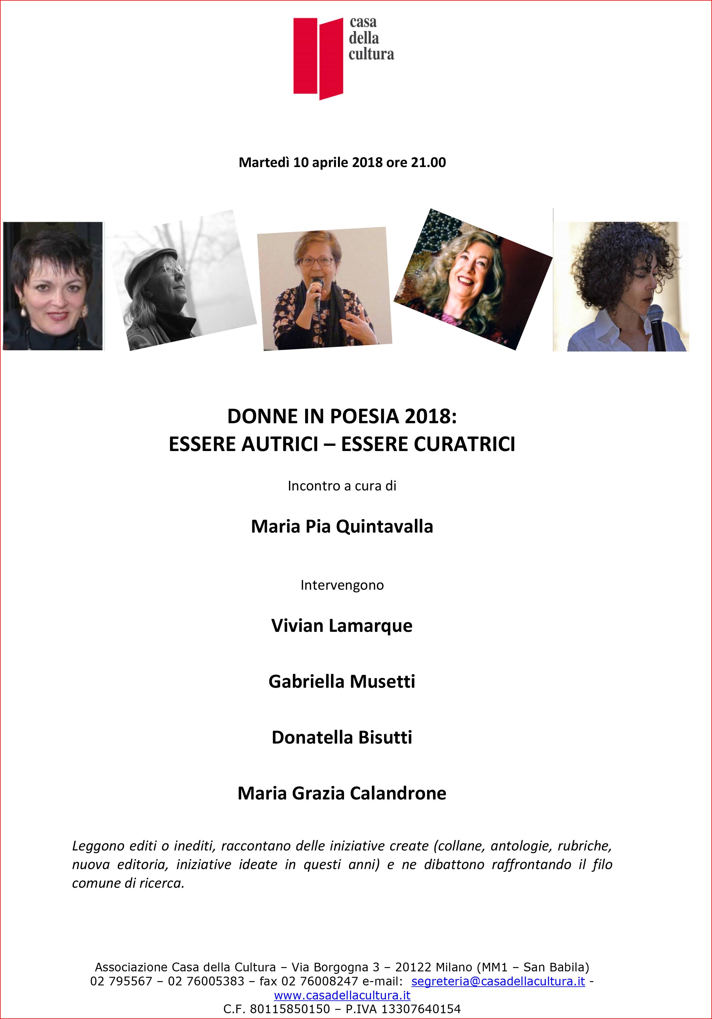 Donne in Poesia 2018 – Milano, 10 aprile