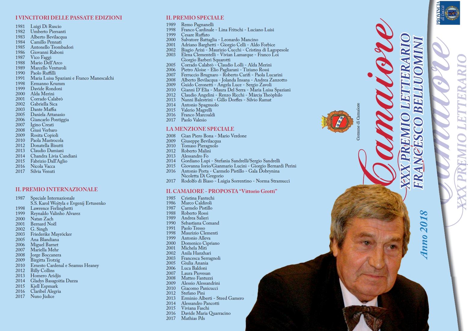 Premio Camaiore Francesco Belluomini - Bando