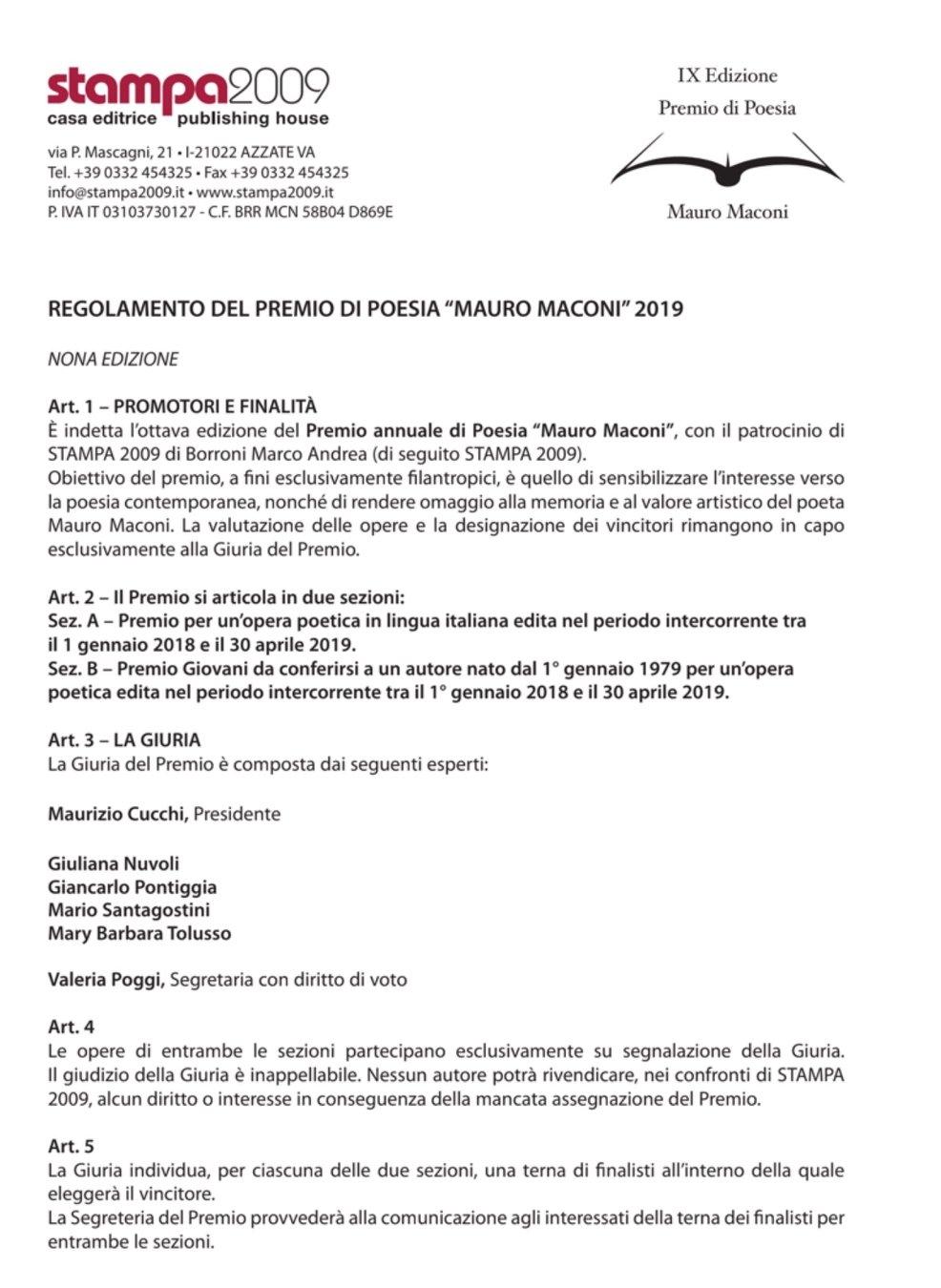 Premio di Poesia Mauro Maconi 2019