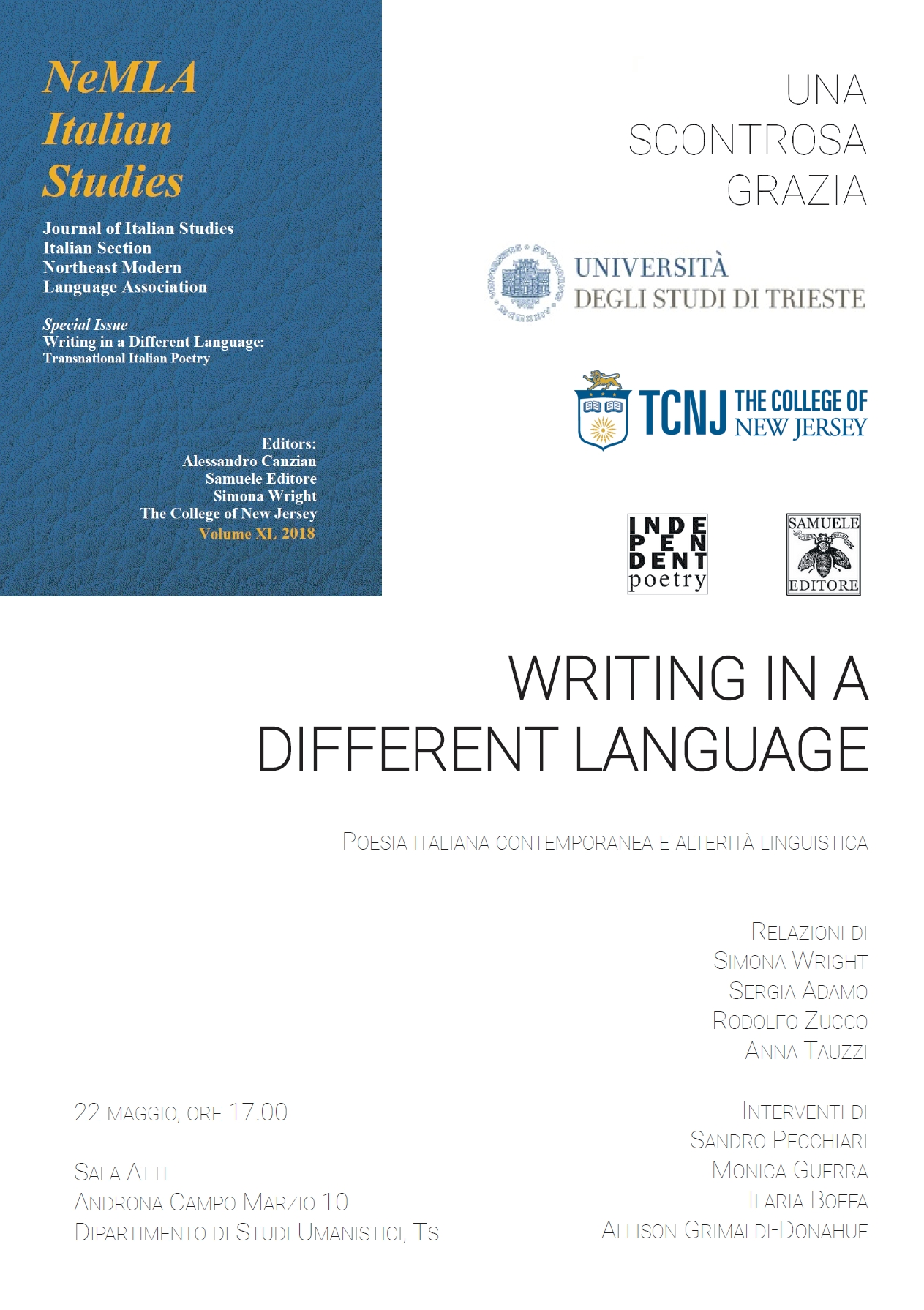 Writing in a Different Language – Trieste 22 maggio